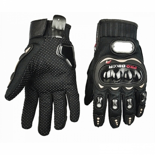 Motocyklové rukavice s ochranným zařízením černé