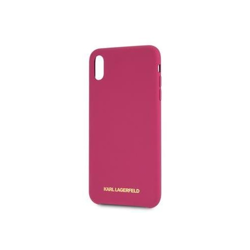 KLHCPXSLROG Karl Lagerfeld Gold Logo Silicone Case Fushia pro iPhone X/XS